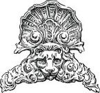 Building Exterior,History,Ancient,Cartouche,Luxury,The Past,Drawing - Art Product,Ilustration,Carving - Craft Product,Isolated On White,Scroll Shape,Old-fashioned,Swirl,Architectural Feature,Sketch,Nobility,Art,Pattern,Baroque Style,Animal Head,Ornate,Town Of Lion's Head,Decoration
