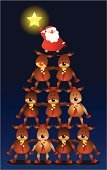 Santa Claus,Reindeer,Christmas,Rudolph The Red-nosed Reindeer,Christmas Tree,Pyramid,Star - Space,Ilustration,Vector,Support,Reaching,Supporting,Holiday,Christmas,Stack,Holidays And Celebrations