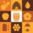 Honey,Jar,Vector,Barrel,Computer Icon,Sign,Yellow,Orange Color,Set,Flower,Design Element,Food,Cultures,Old-fashioned,Keg,Abstract,Drop,Icon Set,Sweet Food,Isolated,Symbol,Beehive
