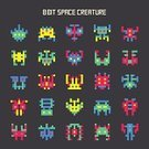 Space,invader,Invaders,8-bit,Pixelated,Symbol,8bit,Monster,Ilustration,Number 8,Robot,Red,Yellow,Computer Graphic,Computer,Alien,Flying,Nerd,Pattern,Vector,UFO