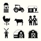 Barn,Back Lit,Ilustration,Cow,Rooster,Vector,Tractor,Nature,Variation,Agriculture,Farm,House,Organic,Icon Set,Set,Collection,Symbol,Animal,Farmer,Field,Stable
