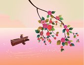 Asia,Painted Image,Blossom,Romance,boatman,Freedom,Chinese Culture,East,Tree,Plum,Branch,Lake,Growth,China - East Asia,Image,Retro Revival,Black Color,Silhouette,Vector,Red,Softness,Cherry,Indigenous Culture,Tranquil Scene,Sakura,Cultures,Resting,One Person,Pattern,Love,Wind,Decor,River,Green Color,Nautical Vessel,Ornate,Elegance,Loneliness,Japan,Ilustration,Style,Springtime,Decoration,Design,Japanese Culture,People,Flower