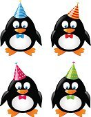 Penguin,Cartoon,Animal,Nature,Vector,Ilustration,Hat,Set,Holiday,Bow,Isolated,Antarctica,Cheerful,Bird,Party - Social Event,Tie,Birthday,Cute,Pole,Fun,Black Color,White,Animals In The Wild,Collection