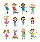 Child,Offspring,Happiness,Group Of People,Human Face,Childhood,Smiling,Ilustration,Cute,Design,Icon Set,Little Girls,Little Boys,Sketch,Vector