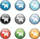 Democratic Party,Donkey,Icon Set,Political Party,Black Color,Politics,Gray,Green Color,Red,Blue,Curve,Government,Circle,Sphere,Yellow