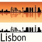Lisbon - Portugal,Ilustration,Travel Destinations,Travel,Urban Skyline,Famous Place,Isolated,Orange Color,Europe,Cityscape,Tower,Urban Scene,White,City,Reflection,Panoramic,Backgrounds,Outline,Portugal,Silhouette,Skyscraper,Orange Background,Lisbon Province,Black Color,Architecture,Western Europe,Building Exterior
