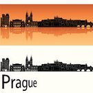 Prague,Silhouette,Panoramic,Urban Skyline,Czech Republic,Cityscape,Famous Place,Isolated,Ilustration,City,Tower,White,Building Exterior,Reflection,Outline,Orange Color,Travel,Skyscraper,Urban Scene,Europe,Orange Background,Eastern Europe,Backgrounds,Architecture,Travel Destinations,Black Color
