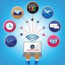 Social Networking,Business,Symbol,Wireless Technology,Colors,Computer Icon,Vector,Connection,Ideas,Technology,White,Computer Network,Application Software,Communication,Global Communications,Interface Icons,Multi Colored,Internet