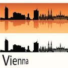 Vienna,Urban Skyline,Austria,Europe,Famous Place,Ilustration,Orange Color,Horizon Over Water,Outline,Isolated,White,Urban Scene,Cityscape,Tower,Reflection,Backgrounds,Panoramic,Silhouette,Skyscraper,Orange Background,Travel,Building Exterior,Black Color,Architecture,City