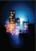 Cityscape,Vector,Urban Skyline,Town,Window,Apartment,Street,city buildings,Downtown District,Lifestyles,Concepts,Dusk,Real Estate,Scenics,Domestic Room,Residential Structure,Fog,Abstract,big city,Ilustration,Night,Symbol