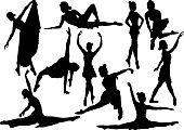 Dancing,Ballet,Silhouette,Illustration,Ballet Dancer,Females,Dancer,Vector,