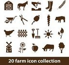 Agriculture,Computer Icon,Symbol,Mill,Farm,Vector,Fence,Sun,Hen,Plant,Flower,Poppy,Wheel,Hedge Clippers,Tree,Carrot,Pig,Barn,Ilustration,Set,Collection,Interface Icons,Cow,Apple - Fruit,Seed,Horse,Nature,Home Interior,Cereal Plant