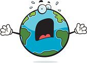 Shouting,Sweat,Vector,Cartoon,Screaming,Planet - Space,Fear,Terrified,Globe - Man Made Object,Ilustration,Earth