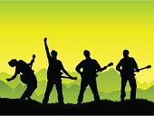 Musical Band,Pop Musician,Silhouette,Guitarist,Guitar,Music,Vector,Singer,Rock and Roll,Singing,Modern Rock,Outdoors,Playing,Group Of People,Mountain,Play,Summer,Teenager,People,Men,Backgrounds,Arms Raised,Green Color,Four People,Looking At Camera,One Person,Musical Instrument,Performance,Ilustration,Clothing,Outline,Environment,Nature,Mountain Range,Grass,Electric Guitar,Adolescence,Fashion,Sky,Funky,Hairstyle,Success,Energy,Skill,Cool,Landscape,Horizontal,Bending,Scenics,Descriptive Position,Sound,Style,Exhilaration,Tracing,Arts And Entertainment,Music,Perfection,Looking At View,Viewpoint,Beautiful,Beauty In Nature,On Top Of The World