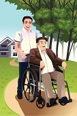 Wheelchair,Cartoon,Nursing Home,Working,Senior Adult,Assisted Living,Assistant,Service,Assistance,People,Nurse,Occupation,Grandfather,Manual Worker,Young Adult,Outdoors,Physical Impairment,Mature Adult,Modern,Pushing,Disabled,Old,Job - Religious Figure,Retirement,Vector,Ilustration,Male,Men,Clip Art,Drawing - Art Product,Adult