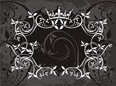 Crown,Coat Of Arms,Frame,Calligraphy,Classic,Dirty,Victorian Style,Circle,Insignia,Knick Knack,Retro Revival,Floral Pattern,Banner,Curve,Old-fashioned,Black Color,Flower,Design,Computer Graphic,Horizontal,Vector,Copy Space,No People,Christmas Decoration,Color Image,Backgrounds,Gray,Elegance,Weather,Ilustration,Old,Arts Abstract,Plant,Illustrations And Vector Art,Digitally Generated Image,Cultures,The Four Elements,Arts And Entertainment