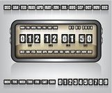 Digital Display,Bar Counter,Countdown,Clock,Number,Counts,Calendar,Old,Counting,Obsolete,Computer Graphic,Instrument of Measurement,Single Object,Minute Hand,Moving Down,Dial,Design,Modern,Business,Clock Face,Control Panel,1940-1980 Retro-Styled Imagery,Timer,Graph,Blackboard,Concepts,Holiday,New,Clock Hand,Equipment,Machine Part,Time,Day,Retro Revival,Black Color,Ilustration,Celebration,Retail Display,Year,Watch,Meter - Instrument Of Measurement,Old-fashioned,Continuity,Sign,Panel