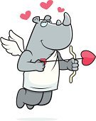 Rhinoceros,Love,Ilustration,Smiling,Valentine's Day - Holiday,Wing,Vector,Heart Shape,Happiness,Bow,Arrow,Cartoon,Cupid,Cheerful,Flying,Animal