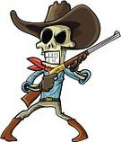 Human Skull,Country and Western Music,Gun,Dead Person,Shock,West - Direction,War,Hat,Horse Herder,Isolated,Weapon,Gaucho,Cartoon,Animated Cartoon,Criminal,Evil,Computer Graphic,Handgun,rustler,Human Head,Skeleton Sled,Wild West,Mascot,Cowboy,Ilustration,Horror