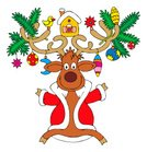 Reindeer,Deer,Christmas,Cartoon,Humor,Clip Art,Winter,Vector,Toy,Christmas Tree,Childishness,Holiday,No People,One Animal,Celebration,White Background,Gift,Illustrations And Vector Art,Color Image,Celebration Event,Christmas,Tracing,Traditional Festival,Holidays And Celebrations,New Year's,Season,Cultures,Curve,New,Laughing