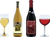 Wine Bottle,Wine,Bottle,Red Wine,Champagne,White Wine,Red,Isolated,Glass - Material,Computer Graphic,White,Alcohol,Vector,Clip Art,Ilustration,Fruit,Part Of,Digitally Generated Image,No People,Menu Elements,Vibrant Color,Vertical,Color Image,Menu Clipart