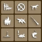 Fishing,Animals Hunting,Internet,Symbol,Fish,Adventure,Design,Bird,Camping,Gun,Hat,Interface Icons,Ilustration,Chevrolet,Set,Collection,Picnic,Land Vehicle,Dagger,Fishing Hook,Travel,People,Fire - Natural Phenomenon,Vector,Outdoors,Hiking,Tent,Nature,Hunting,Hunter,Wildlife,Isolated,Recreational Pursuit,Weapon,Feather,Bird's Nest,Hook,White,Duck,Sign