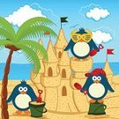 Penguin,Beach,Sea,Palm Tree,Sand,Cloudscape,Vacations,Bird,Sun,Cap,Building - Activity,Castle,Vehicle Scoop,Fort,Blade,Cartoon,Coastline,Fun,Tower,Summer,Outdoors,Young Animal,Cloud - Sky,Sunglasses,Child,Vector,Baby,Landscaped,Series,Design,Sandcastle,Cute,Landscape,Ilustration,Bucket