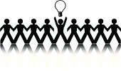 Paper Chain,Stick Figure,Light Bulb,People,Eureka - California,Standing Out From The Crowd,Black Color,Ideas,Simplicity,White Background,Vector,Creativity,Silhouette,Concepts,Business Concepts,Business Symbols/Metaphors,Business,Action,Information Symbol,Ilustration,Reflection