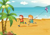 Little Boys,Playful,Flying,Summer,Heat - Temperature,Fun,Smiling,Vector,Grass,Rock - Object,Sand,Beach,Image,Plant,Tree,Computer Graphic,vectorized,Small,People,Men,Sea