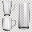 Glass - Material,Glass,Cup,Vector,Transparent,Empty,Reflection,White,Shiny,Checked,Set,Ilustration,Collection