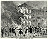 Arson,Fire - Natural Phenomenon,Prison,Social Issues,Styles,Old-fashioned,Print,UK,City of London,Burning,Public Building,Protestor,London - England,England,Chaos,Destruction,Engraved Image,Event,Built Structure,History,Greater London,Obsolete,Image Created 18th Century,People,Southeast England,Northern Europe,Retro Revival,Crime,Protest,Crowd,Criminal,The Past,Mob,Riot,18th Century Style,Antique,Europe,Group Of People,Woodcut,Ilustration,Old,Black And White