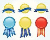 Award Ribbon,Award,Certificate,Banner,Ribbon,warranty,Gold Colored,Symbol,Insignia,Agreement,Blue,Gold,Achievement,Blank,Backgrounds,No People,Red,Shiny,Gold Seal