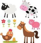 Cow,Ilustration,Sheep,Baby Chicken,Cute,Animal,Pig,Flower,Horse,Vector,Hen,Cartoon,Set,Single Flower,Isolated,Farm,Clip Art,Multi Colored