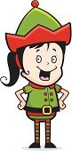 Ilustration,Holiday,Smiling,Standing,Vector,Happiness,Cheerful,Cartoon,Child,Elf,Little Girls,Christmas