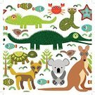 Fish,Alligator,Prepared Crab,Crab,Isolated,Happiness,Variation,Zoology,Summer,Reptile,Computer Graphic,Mammal,Kangaroo,Animal Pattern,Cute,Crocodile,Characters,Nature,Dingo,Dog,Drawing - Art Product,Snake,Ilustration,seamless background,Australian Music,Remote,Wildlife,Cheerful,Baby Shower,Turtle,Tropical Rainforest,Starfish,Koala,Tree,Pencil Drawing,Zoo Background,Australian Ethnicity,Wolf,Bear,Australian Culture,Australia,Drawing - Activity,Animal,Art Product,Bird