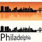 Philadelphia,Urban Skyline,Travel Destinations,Orange Background,Ilustration,Panoramic,Silhouette,Backgrounds,Black Color,Building Exterior,City,Urban Scene,Cityscape,Skyscraper,Travel,Architecture,Outline,White,Pennsylvania,USA,Tower,Reflection,Isolated,Famous Place,Orange Color,Horizon Over Water