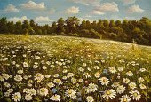 Paintings,Painted Image,Art,Flower,Landscape,Field,Colors,Forest,Tree,Village,Summer,Dreamlike,Scenics,Color Image,Non-Urban Scene,Cool,Looking Through Window,Chamomile Plant,Sky,Burning,Rural Scene,Cloud - Sky,Hill,Pasture,Innocence,Sunlight,Grass,Sun,Igniting,Illuminated,Meadow,New,Looking At View,Cumulus Cloud,Sparse,Herb,Blooming,Cityscape,Purity,Oxeye Daisy,Variegated,Flowers,Blue,Landscapes,Summer,Blossom,Day,Yellow,Nature,Variation,Clean,Green Color,Perianth