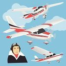 Art,Flying,Wing,Mode of Transport,Transportation,Cartoon,Business Travel,Land Vehicle,Biplane,White,Journey,Fuselage,Travel,Computer Graphic,Ilustration,Men,Cloud - Sky,Propeller,Caucasian Ethnicity,Air Vehicle,Airplane,Pilot,Air,Banner,Vector,Sky