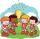 Child,Ilustration,Athlete,Little Boys,Winning,Friendship,Schoolyard,Sports Uniform,Team Sport,Outdoors,Smiling,Waving,Sport,Preschooler,Cheering,Confetti,Gold Colored,Gold,Ball,Cheerful,Elementary Age,Caucasian Ethnicity,Soccer Player,Goal,Playing Field,Sports Team,Laughing,Vector,Playground,Sports Activity,Jumping,Soccer Uniform,Playing,Aspirations,Success,Soccer Ball,Trophy,Picking Up,Soccer,Football,African Ethnicity,Celebration,Award