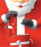 Santa Claus,Christmas,Gift,Christmas Present,Box - Container,Ilustration,Cartoon,Vector,Opening,Gift Box,Red,Ribbon,Tearing,Receiving,Close-up,Cheerful,Full Frame,Excitement,Vertical,Happiness,Ecstatic,Red Background,Composition,People,Holidays And Celebrations,Christmas,Consumerism,Concepts And Ideas
