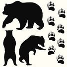 Bear,Brown Bear,Silhouette,Ilustration,Standing,Animals In The Wild,Wildlife,Black Color,Vector,Strength,Large,Fang,Carnivore,Animal,Claw,Bear Standing,Nature,Power,Fear
