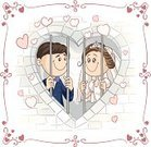 Wedding,Fun,Heart Shape,Drawing - Art Product,Humor,Newlywed,Prison Cell,Invitation,Romance,Bride,Couple,Celebration,Bridegroom,Pastel Colored,Prison,Cute,Caricature,Women,Design,Valentine Card,Married,Little Boys,Husband,Life,Happiness,Justice - Concept,Shape,Cheerful,Smiling,Cartoon,Greeting Card,Joy,Sentencing,Valentine's Day - Holiday,Togetherness,Ilustration,Love,Frame,Men,Wife,Family,Engagement