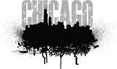 Chicago,Ilustration,Grunge,Urban Skyline,Office Building,Skyscraper,Sears Tower,Copy Space,Vector,Cityscape,Built Structure,Midwest USA,Single Word,Black And White,Text,Typescript,big city,City