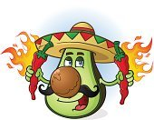 Mexican Cuisine,Vegetable,Guacamole,Mascot,Burning,Freshness,Mexico,Holding,Cayenne Powder,Flame,Latin American Culture,Red Chili Pepper,Characters,Avocado,Tabasco Pepper,Ripe,Cross Section,Seed,Latin American and Hispanic Ethnicity,Hat,Drawing - Art Product,Healthy Eating,Sombrero,Heat - Temperature,Spice,Ilustration,Jalapeno Pepper,Fire - Natural Phenomenon,Fruit,Green Color,Vector,Mustache,Cartoon,Chopped,Chili Pepper,Smiling