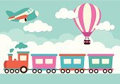 Train,Cartoon,Railroad Track,Steam,Cloud - Sky,Hot Air Balloon,Pink Color,Balloon,Design,Airplane,Blue,Locomotive,Air,Journey,Travel,Smoke - Physical Structure,Motion,Sky,Ground,Ilustration,Orange Color,Green Color,Transportation,Mode of Transport,Computer Graphic,Vector,Flying,Mid-Air,Fun,Steam Train