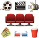 Movie Theater,Chair,Movie,Popcorn,Vector,Symbol,The Media,Technology,Projection Equipment,Insignia,Film Slate,Ilustration,Design,Isolated,Entertainment,Video,Ornate,Studio Shot,Film,Ideas,Concepts,Internet,Multimedia,Design Element,Scrapbook,Web Page,Icon Set,Set,Collection,Electric Lamp,Lighting Equipment,Television Set,Camera Film,Leisure Activity,Ticket,Eyeglasses,Projection Screen