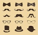 Hat,Mustache,Bow Tie,Eyeglasses,New Life,Lifestyles,Icon Set,Hipster,Part Of,Symbol,Modern,Funky,Design,Fashion,Cultures,Personal Accessory,Party - Social Event,Beautiful,Characters,Men,Ilustration,Vector,Old-fashioned,Computer Graphic,Elegance,Style,Retro Revival