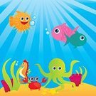 Octopus,Sea Horse,Cartoon,Fish,Vector,Crab,Sea,Animal,Ilustration,Backgrounds,Set,Cute,White,Imagination,Multi Colored,Computer Graphic,Colors