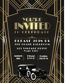 Art Deco,gatsby,Frame,Invitation,Gold Colored,Party - Social Event,Gold,Steampunk,Poster,Single Line,Car,Old-fashioned,Art Decco,Retro Revival,Urban Skyline,Art,Brass,Metal,Transportation,The Great Gatsby - 2012 film,Event,Design,Yellow,Green Color,Deco,Celebration,Textured,Text,Vector,Ilustration,Architecture,Advertisement