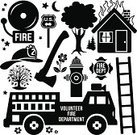 Firefighter's Helmet,Burning,House,Fire Hydrant,Fire Engine,Emergency Services,Ladder,Badge,Design Element,Icon Set,Ilustration,Black And White,Vector,Firefighter,Fire - Natural Phenomenon,Axe,Fire Alarm,Rescue,Disaster